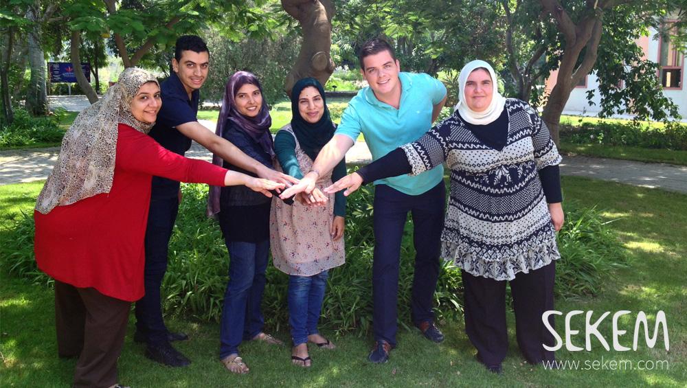"SEKEMs ""Sustainability Team"": Naglaa Ahmed, Helmy Mohamed, Thoraya Seada, Heba Askar, Maximilian Abouleish-Boes and Dalia Abdou (f.l.t.r.)"