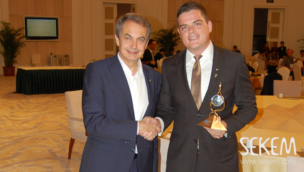 SEKEM receives 2015 Land for Life Award by UNCCD. José Luis Rodríguez Zapatero, ex prime minister of Spain together with Maximilian Abouleish